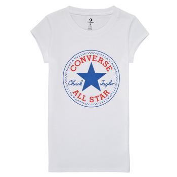 tekstylia Dziewczynka T-shirty z krótkim rękawem Converse TIMELESS CHUCK PATCH TEE Biały