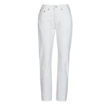 tekstylia Damskie Jeansy boyfriend Levi's 501 CROP Biały