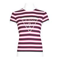 tekstylia Damskie T-shirty z krótkim rękawem Guess GERALDE TURTLE NECK Czarny / Biały