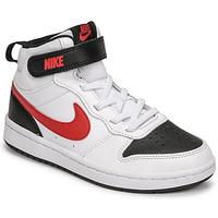 Buty Chłopiec Trampki niskie Nike NIKE COURT BOROUGH MID 2 Biały / Czerwony / Czarny