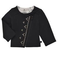 tekstylia Dziewczynka Swetry rozpinane / Kardigany Ikks XS17020-02 Czarny