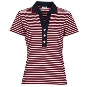 tekstylia Damskie Koszulki polo z krótkim rękawem Liu Jo WA1142-J6183-T9701 Marine / Biały / Czerwony