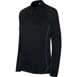 tekstylia Damskie Bluzy dresowe Proact Sweat femme  Running 1/4 Zip noir
