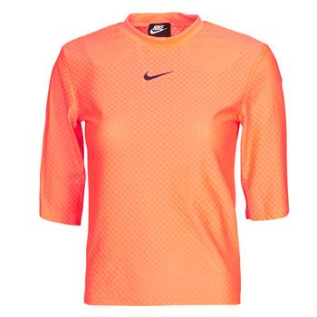 tekstylia Damskie T-shirty z krótkim rękawem Nike NSICN CLSH TOP SS MESH Pomarańczowy