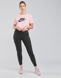 tekstylia Damskie Spodnie dresowe Nike NSAIR PANT FLC MR Czarny / Biały