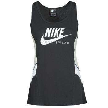 tekstylia Damskie Topy na ramiączkach / T-shirty bez rękawów Nike NSHERITAGE TTOP HBR Czarny / Szary / Biały