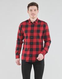 tekstylia Męskie Koszule z długim rękawem Jack & Jones JJEGINGHAM Czerwony / Czarny