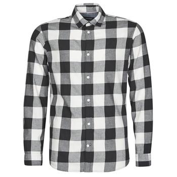 tekstylia Męskie Koszule z długim rękawem Jack & Jones JJEGINGHAM Biały / Czarny
