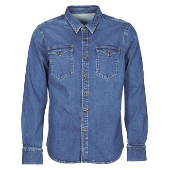 tekstylia Męskie Koszule z długim rękawem Yurban OPUCI Niebieski / Medium