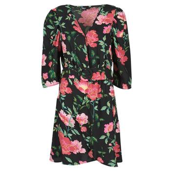 tekstylia Damskie Sukienki krótkie Only ONLEVE 3/4 SLEEVE SHORT DRESS WVN Czarny / Różowy