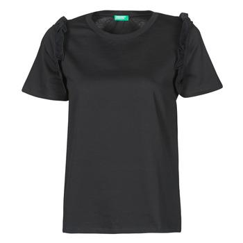 tekstylia Damskie T-shirty z krótkim rękawem Benetton MARIELLA Czarny