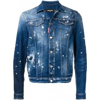 tekstylia Męskie Kurtki jeansowe Dsquared S71AN0052 Niebieski