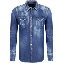 tekstylia Męskie Koszule z długim rękawem Dsquared S74DM0226 Niebieski