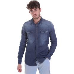 tekstylia Męskie Koszule z długim rękawem Gaudi 021GU46001 Niebieski
