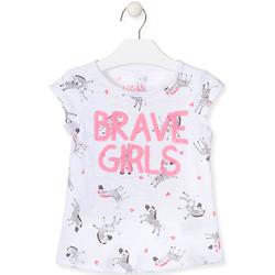 tekstylia Dziewczynka T-shirty i Koszulki polo Losan 017-1016AL Biały
