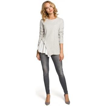 tekstylia Damskie Topy / Bluzki Moe M333 Asymmetric layered blouse - light grey