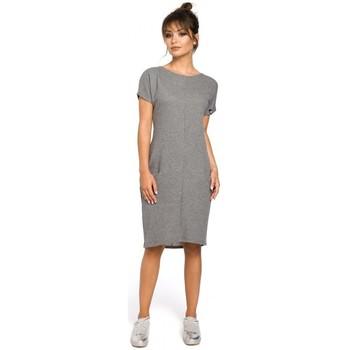 tekstylia Damskie Sukienki Be B050 Sukienka midi z kieszeniami w szwach - szara