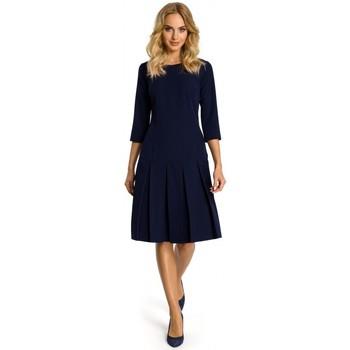 tekstylia Damskie Sukienki krótkie Moe M336 Drop waist dress with pleats - navy blue