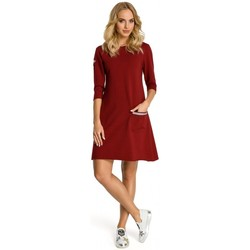 tekstylia Damskie Sukienki krótkie Moe M343 Trapezowa sukienka z paskami - bordo