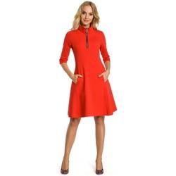 tekstylia Damskie Sukienki krótkie Moe M349 Zip collar fit and flare dress - red