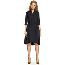 tekstylia Damskie Sukienki krótkie Style S099 Sukienka z asymetrycznymi brzegami - czarna