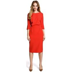 tekstylia Damskie Sukienki krótkie Moe M360 Sukienka o średniej długości z luźną górą - czerwona