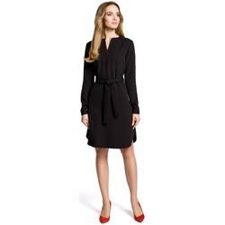 tekstylia Damskie Sukienki krótkie Moe M361 Shirt dress with tied belt - black
