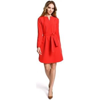 tekstylia Damskie Sukienki krótkie Moe M361 Shirt dress with tied belt - red