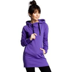 tekstylia Damskie Bluzy Be B072 Długi pulower - fioletowy