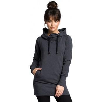 tekstylia Damskie Bluzy Be B072 Długi pulower - grafitowy