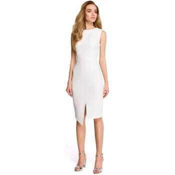 tekstylia Damskie Sukienki krótkie Style S105 Sukienka bez rękawów z faux-wrap - ecru