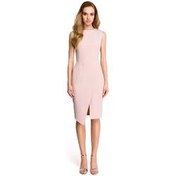 tekstylia Damskie Sukienki krótkie Style S105 Faux-wrap sleeveless dress - powder