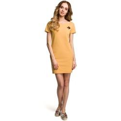 tekstylia Damskie Sukienki krótkie Moe M374 Mini dress with a badge - yellow