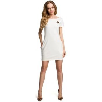 tekstylia Damskie Sukienki krótkie Moe M374 Mini sukienka z naszywką - ecru