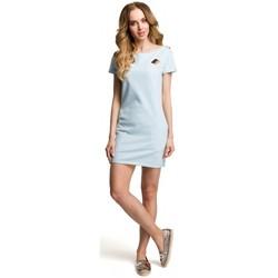 tekstylia Damskie Sukienki krótkie Moe M374 Sukienka mini z naszywką - jasnoniebieska