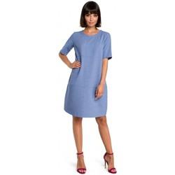 tekstylia Damskie Sukienki krótkie Be B082 Breezy shift dress - niebieski