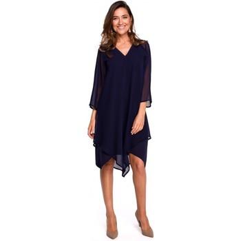 tekstylia Damskie Sukienki krótkie Style S159 Sukienka szyfonowa z asymetrycznym obszyciem - granatowa