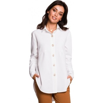 tekstylia Damskie Koszule Be B122 Collar shirt - white