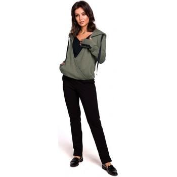 tekstylia Damskie Bluzy Be B127 Sweter z kapturem z przodu - khaki