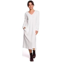 tekstylia Damskie Sukienki długie Be B128 Maxi sukienka z kapturem - ecru