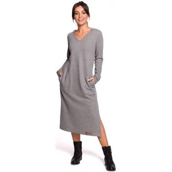 tekstylia Damskie Sukienki długie Be B128 Maxi sukienka z kapturem - szara