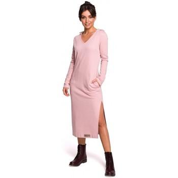 tekstylia Damskie Sukienki długie Be B128 Maxi sukienka z kapturem - pudrowy