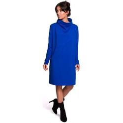 tekstylia Damskie Sukienki krótkie Be B132 Sukienka z wysokim kołnierzem - królewski błękit