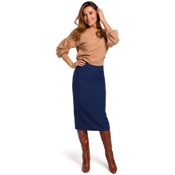 tekstylia Damskie Spódnice Style S171 High waisted pencil skirt - navy blue