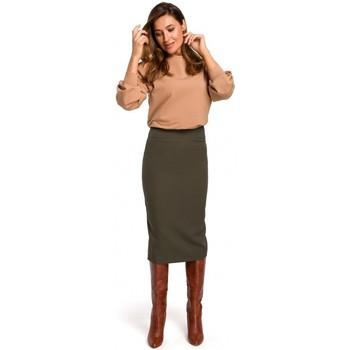 tekstylia Damskie Spódnice Style S171 Spódnica ołówkowa z wysoką talią - khaki