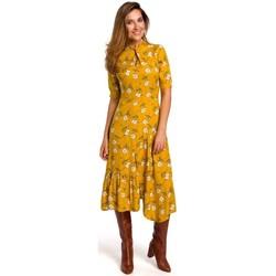 tekstylia Damskie Sukienki długie Style S177 Sukienka midi z kwiatowym nadrukiem - model 1