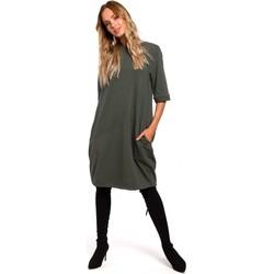 tekstylia Damskie Sukienki krótkie Moe M451 Dress with tied bottom hem - military green