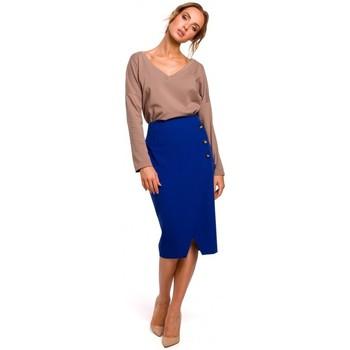 tekstylia Damskie Spódnice Moe M454 Pencil skirt with decorative buttons - royal blue