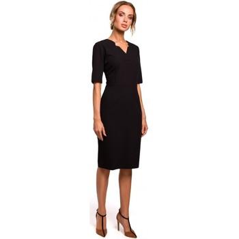 tekstylia Damskie Sukienki krótkie Moe M455 V-neck dress - black