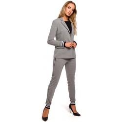 tekstylia Damskie Marynarki Moe M459 Blazer with striped ribbed cuffs - grey
